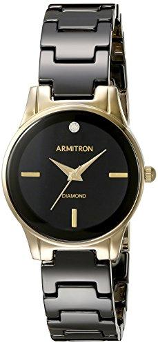 Armitron Women's 75/5348BKGP Diamond-Accented Gold-Tone and Black Ceramic Bracelet (Black Diamond Ceramic)