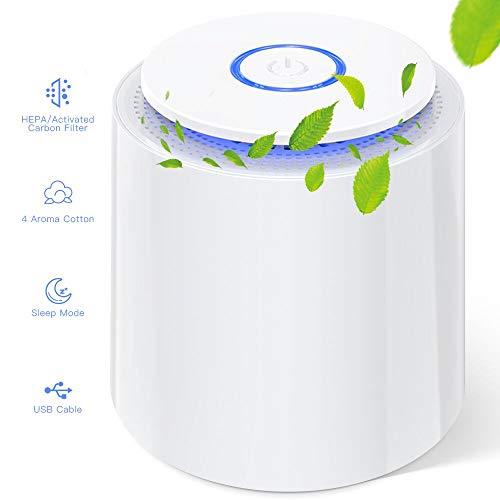 🥇 Mini Purificador de Aire con Filtro HEPA Verdadero Purificadores de Escritorio Portátiles con Función de Aromaterapia