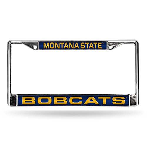 Rico Industries NCAA Montana State Bobcats Laser Cut Inlaid Standard Chrome License Plate Frame, Chrome, 6