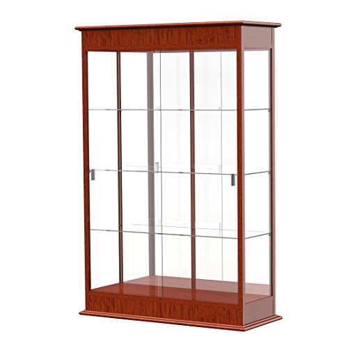 Waddell Varsity Sliding Doors Lighted Display Case, 48W by 77H by 18''D, Mirror Back with Cherry Oak Finish by Waddell