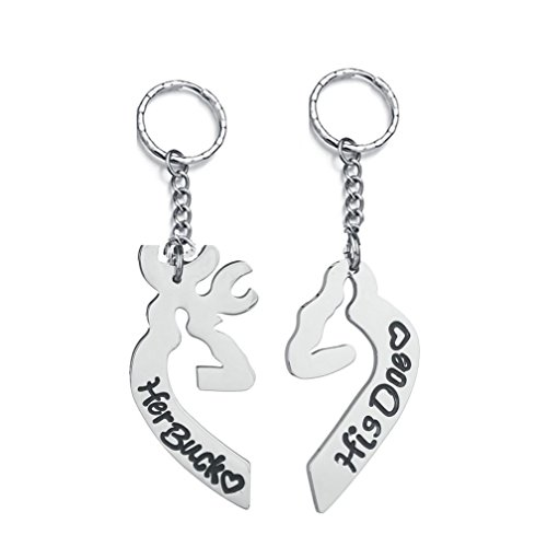 4EAELove His Her Couple Keychain Engraved Her Buck His Doe Stainless Steel Promise Keyring Charm -