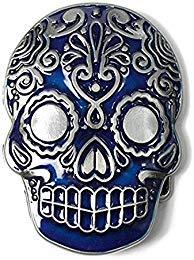 Aztec Skull Blue Belt Buckle