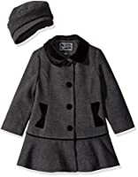 Rothschild Girls' Little Faux Wool Coat with Velvet Bow, Dark Charcoal, 5