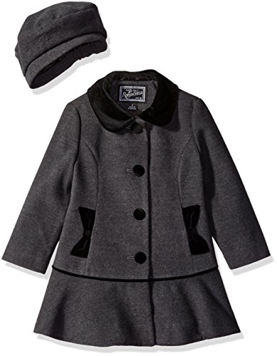 Rothschild Little Girls' Faux Wool Coat with Velvet Bow, Dark Charcoal, 6X by Rothschild