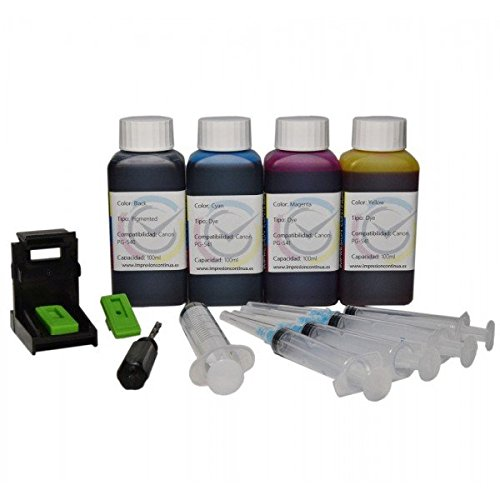 Inktec - Кit de cartuchos de recarga para Canon PG-540 CL-541, tinta negra y de color, 400 ml, de gran calidad + Refill Clip para impresora Canon ...