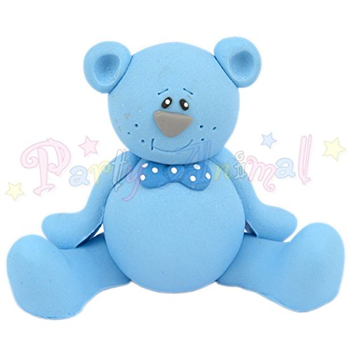Price comparison product image Cake Star Topper - Blue Teddy Bear - Cake Decoration Baby / Christening Celebration Topper