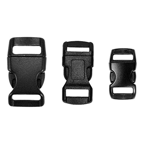 - 60 Pack - 3/8 Inch, 1/2 Inch, and 5/8 Inch Black Side Release Buckles - 20 of Each Size - Use for Paracord Bracelets, Repairs, Replacements