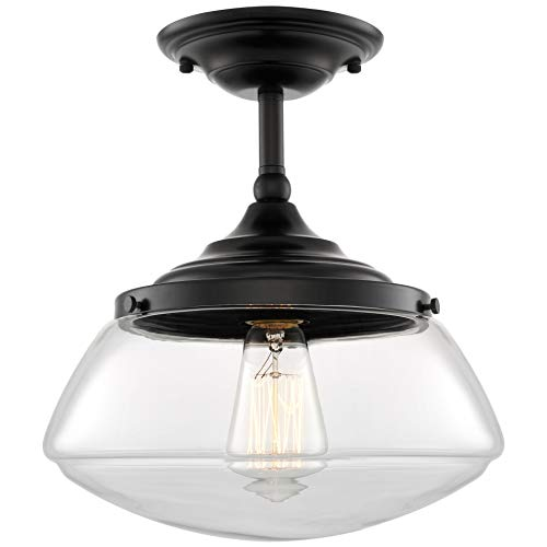 "Kira Home Summit 10"" Modern Industrial Farmhouse Semi Flush Mount Ceiling Light + Schoolhouse Glass Shade, Matte Black Finish"