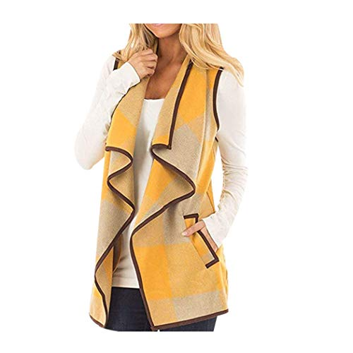 CUCUHAM Womens Vest Plaid Sleeveless Lapel Open Front Cardigan Sherpa Jacket Pockets ()