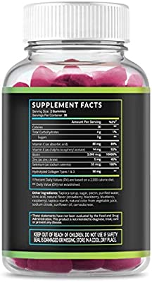 Collagen Gummies Formulated to Support Hair, Skin, and Nail Growth with Natural, Vital Proteins and Collagen Peptide Vitamins; Non-GMO, Gelatin-Free, Pure Ingredients; 60 Gummies for Men & Women