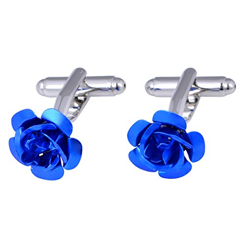 Rose White Cufflinks (Yoursfs Rose Cufflinks Rose Flower Muti-color For Wedding Tuxedo French Shirt (white))