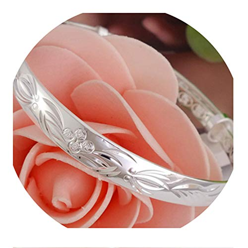 925 Open Cuff Silver Color Couple Bangles Round Adjustable Wristband Bracelets Z107
