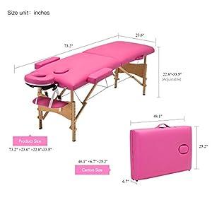 Uenjoy Folding Massage Table 84'' Professional Massage Bed 2 Fold Lash Bed with Head-& Armrest, Pink