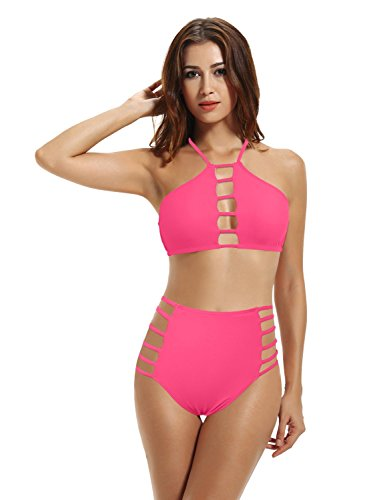 zeraca Women's High Waisted Bottoms High Neck Bikini Bathing Suits (XL18, Neon Hot Pink)
