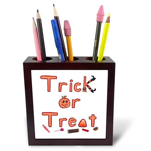 3dRose CherylsArt Holidays Halloween - Painting of The Words Trick or Treat with Fun Decorative Letters - 5 inch Tile Pen Holder (ph_311432_1)