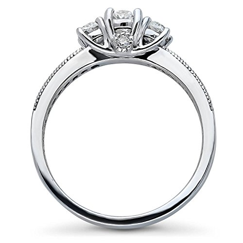 BERRICLE Rhodium Plated Sterling Silver Cubic Zirconia CZ 3-Stone Promise Engagement Ring Size 5 by BERRICLE (Image #3)