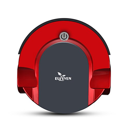 Euleven 3071R Robotic Vacuum cleaner drop -sensing technology ,floor care sweeper with HEPA Filter for Pet Fur and dirt, climbs over the rugs ,Design for Hard Floor and low-pile Carpet-Red