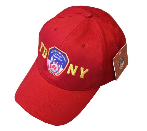 FDNY Baseball Hat Police Badge Fire Department Of New York City Red & Gold On... -