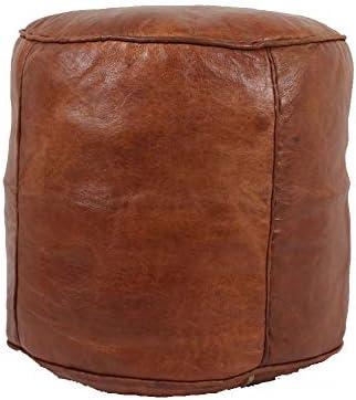 bohemiamarrakech Pouf Unstuffed Leather Pouf Ottoman Pouf Ottoman Brown Morrocan Pouf Ottoman Moroccan Tabouret Leather Pouf Ottoman Luxury Leather Color Brown 18'' Diameter 16″ Heigh-