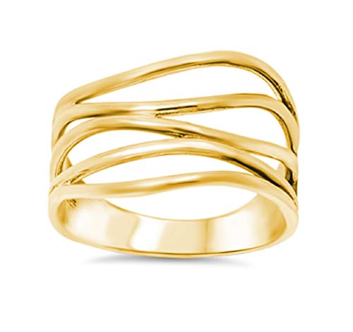 CloseoutWarehouse Yellow Gold-Tone Plated Sterling Silver Crooked Lines Filigree Ring Size 9 -