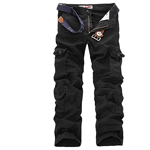 ZiuZi Mens Loose Fit Cotton Casual Military Army Cargo Camo Combat Work Pants (34, 025 Black) Loose Fit Camo