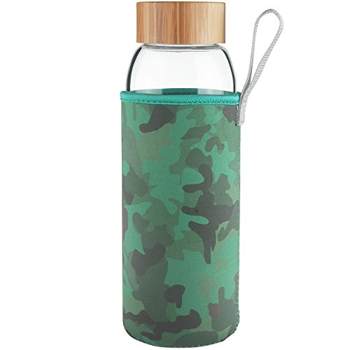 Ferexer Borosilcate Glass Water Bottle Wide Mouth with Bamboo Lid 1000 ml/32 oz(camouflage)