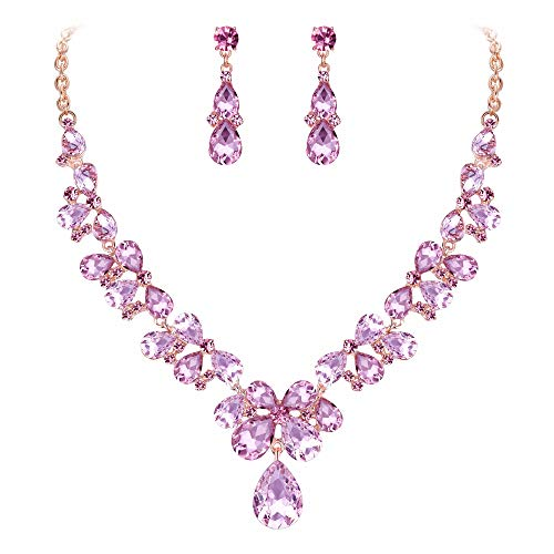BriLove Wedding Bridal Necklace Earrings Jewelry Set for Women Crystal Teardrop Cluster Statement Necklace Dangle Earrings Jewelry Set Pink Gold-Toned