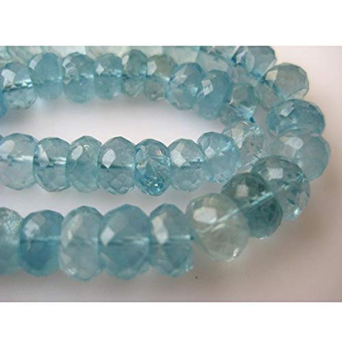 Topaz Faceted Blue Necklace Briolette (1 Strand Natural Swiss Blue Topaz Rondelles, Blue Topaz Bead, Faceted Rondelle Beads, 5mm Beads, 4 Inch by Gemswholesale)