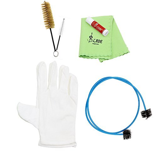 Andoer Brasswind Instrument Trumpet Trombone Tuba Horn Cleaning Set Kit Tool with Cleaning Cloth Brush oves