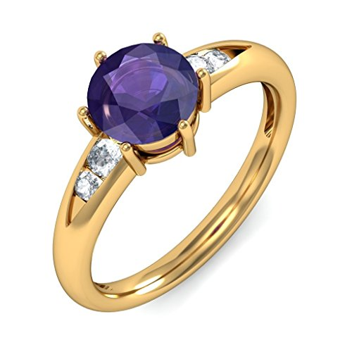 Certified 18K Yellow Gold (HallMarked), 0.12 cttw White Diamond (IJ | SI ) Iolite and Diamond Engagement Wedding Ring Size - 12
