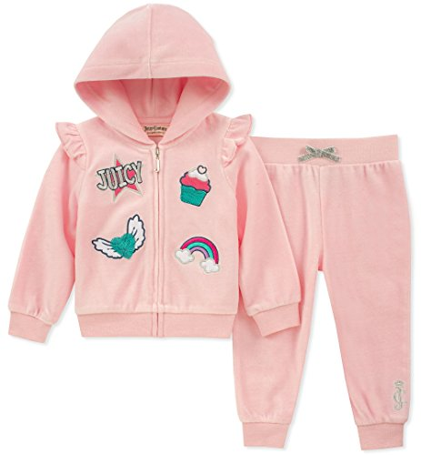 - Juicy Couture Girls 2 Pieces Jog Set-Velour, Baby Pink/Silver, 24M