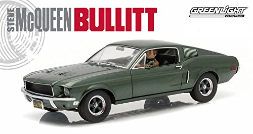 Greenlight Collectibles Bullitt 1968 Ford Mustang GT Fastback Vehicle with Cars Figure (1:18 Scale), Green ()