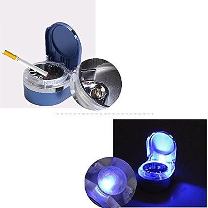 Queta Cenicero de Coche para el hogar, con luz LED y Botón de Batería,