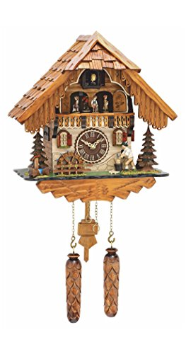 Quartz Cuckoo Clock Black Forest House With Moving Wood