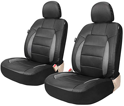 Leader Accessories Platinum Vinyl Faux Leather Universal Car Front Seat Covers 2 pcs/set Black Airbag Compatible with Headrest Covers