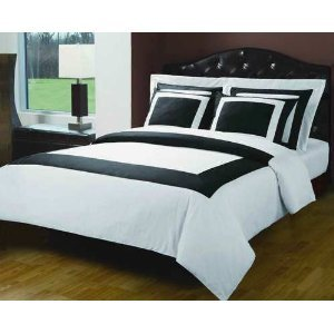 Amazon.com: 6pc King Size Hotel bedding set Including 300 Thread ... : black and white king quilt set - Adamdwight.com