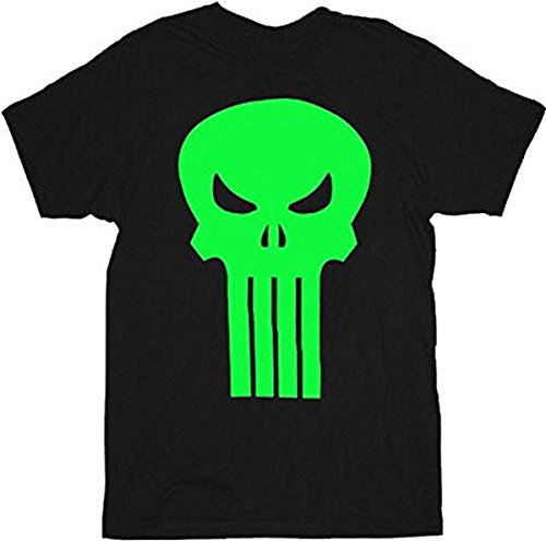 The Punisher Movie Neon GREEN Skull Logo Black T-Shirt Tee (Adult XX-Large)