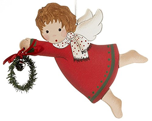 Red Dress Flying Angel with Bell in Wreath Christmas Ornament