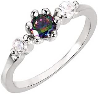 Three Stones Rainbow Simulated Topaz Cubic Zirconia Ring Sterling Silver (Sizes 3-13)