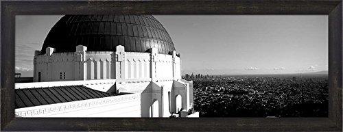 Observatory with cityscape in the background, Griffith Park Observatory, LA, California by Panoramic Images Framed Art Print Wall Picture, Espresso Brown Frame, 29 x 11 inches