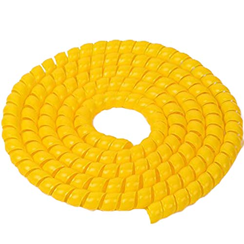 Price comparison product image TINTON LIFE 6.5FT 16mm(0.62in) PP Spiral Wire Tube Pipe Cable Sleeve Protector,  Yellow