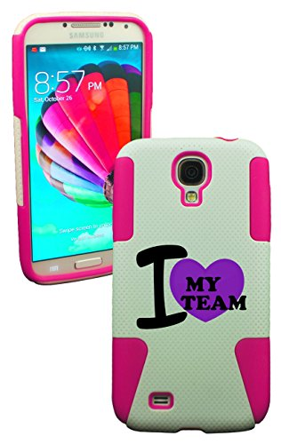- PHONETATOOS (TM) fo rGalaxy S4 I Love My Team Plastic & Silicone Case (Pink)-LIFETIME WARRANTY