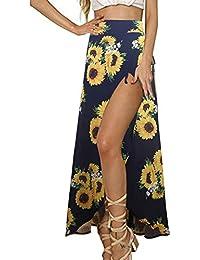 b8f3403d84 Womens Boho Floral Tie Up Waist Summer Beach Wrap Cover Up Maxi Skirt