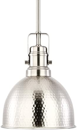 Light Society Hampshire Farmhouse Pendant Lamp, Hammered Satin Nickel, Vintage Industrial Modern Lighting Fixture LS-C248-SN