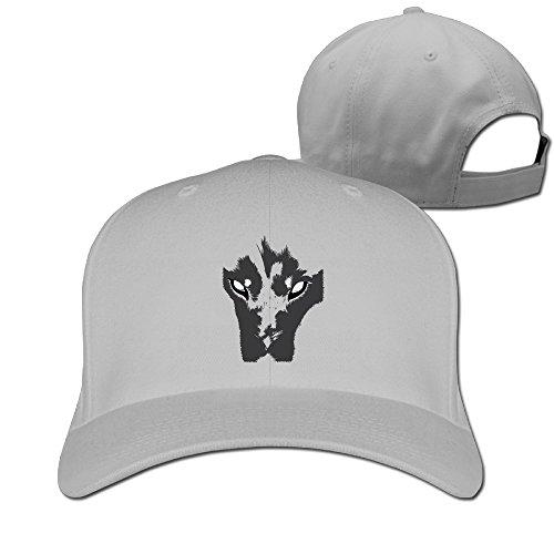 Adult Cool Siberian?husky Face Adjustable Fitted Peak Cap Ash (Kennel Siberian Club Husky)