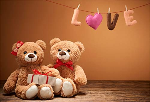 CSFOTO 8x6ft Background Valentines Day Word Love Heart Couple Teddy Bears Photography Backdrop Birthday Party Decor Marriage Engagement Date Day Celebration Photo Studio Props Vinyl Wallpaper
