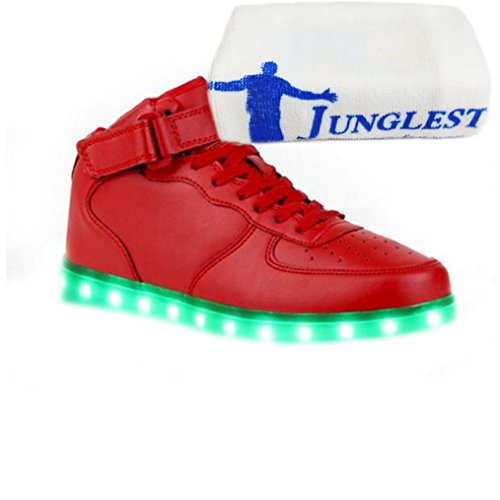 [Present:small towel]JUNGLEST® Women Men Couple LED Light Glow Sneakers USB C High Top - Red CUw5f