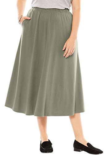 Woman Within Women's Plus Size 7-Day Knit A-Line Skirt Olive Grey,M