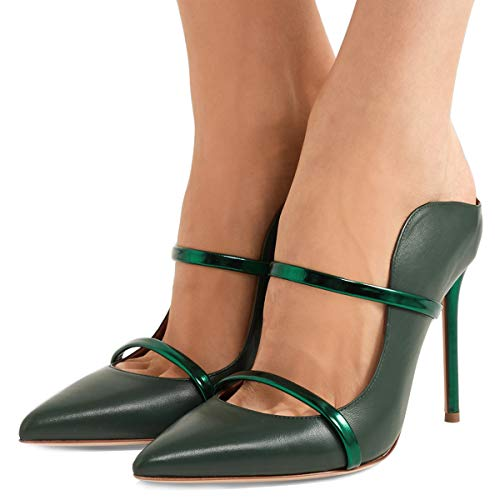 (FSJ Women Fashion Pointy Toe Pumps High Heels Mule Sandals Double Straps Slide Shoes Size 9 Green-12 cm)