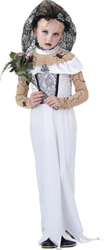 Children's Halloween Fancy Party Girl's Outfit Spooky Zombie Bride Costume -